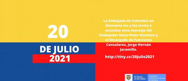 El Embajador de Colombia en Alemania y el Encargado de funciones consulares en Berlín saludan a los connacionales con ocasión de la conmemoración del 20 de julio