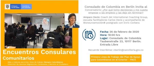 Consulado de Colombia en Berlín invita al conversatorio: ¿Por qué tomo decisiones y me cuesta empezar o las empiezo y las dejo sin terminar?