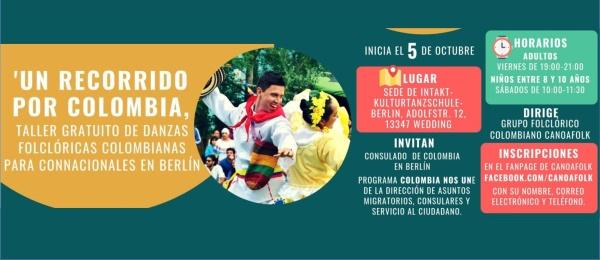El Consulado en Berlín invita al taller gratuito de danzas folclóricas 'Un recorrido por Colombia' a partir del 5 de octubre de 2018