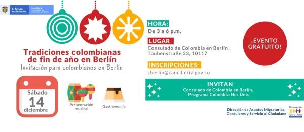 La Embajada y el Consulado de Colombia en Alemania invitan a los colombianos en Berlín a revivir las tradiciones de fin de año el 14 de diciembre de 2019