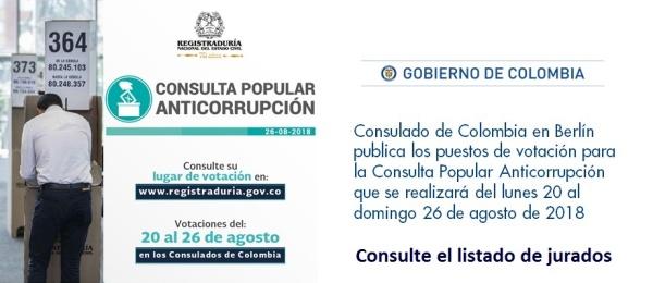 Consulado de Colombia en Berlín publica los puestos de votación para la Consulta Popular Anticorrupción que se realizará del lunes 20 al domingo 26 de agosto
