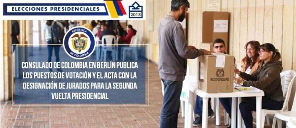 El Consulado de Colombia en Berlín publica los puestos de votación y el acta con la designación de jurados para la segunda vuelta presidencial