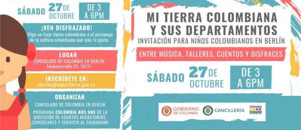 El Consulado en Berlín invita a los niños a disfrazarse de traje típico o del personaje de la cultura colombiana que más les guste el 27 de octubre de 2018